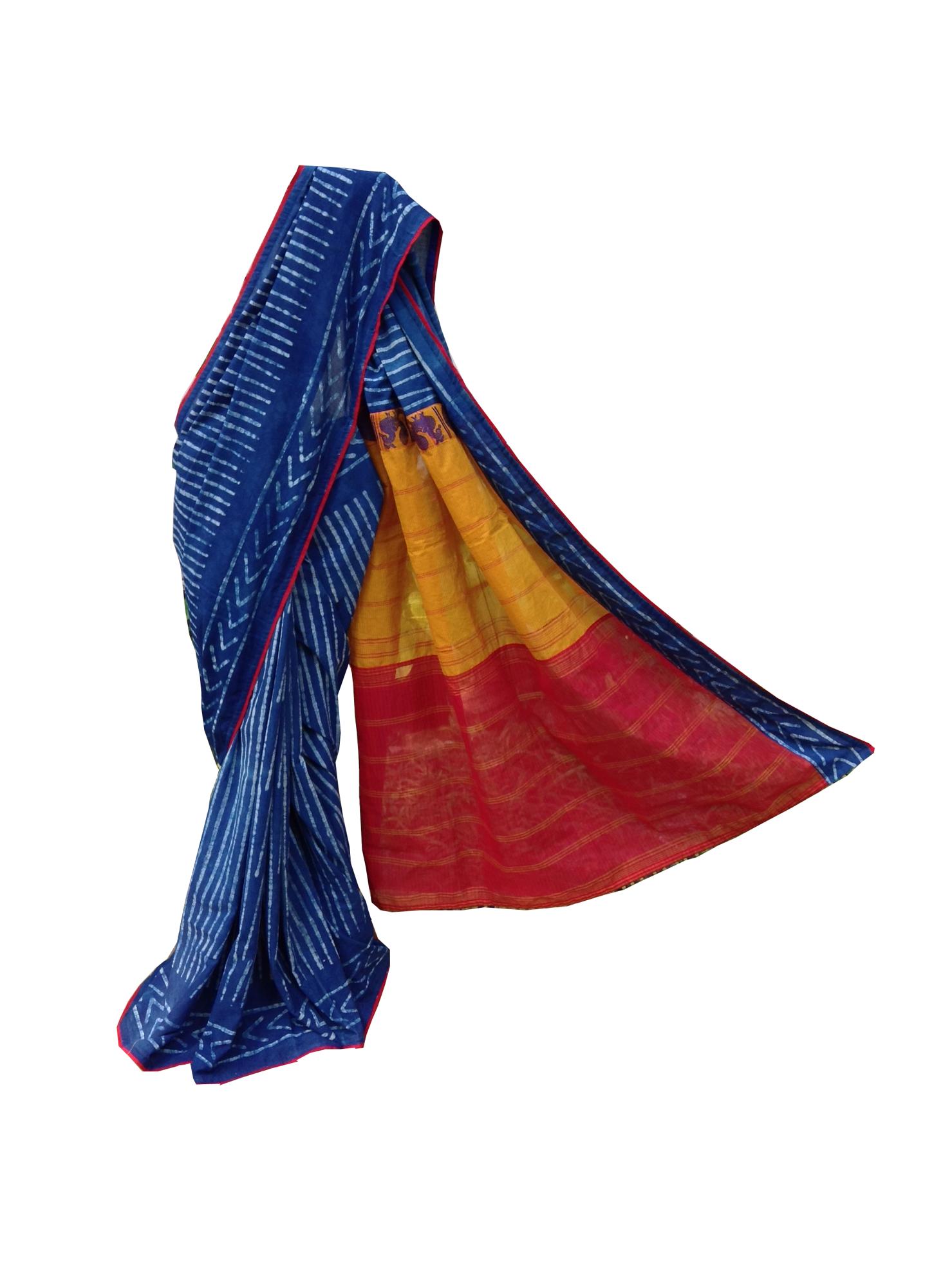 Indigo handwoven saree chettinad Red stripe saree