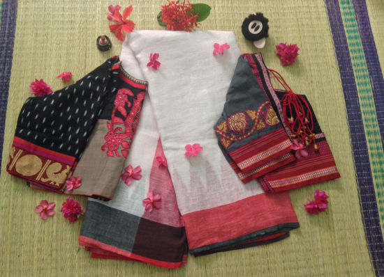 Picture of LINEN SAREE FUSED WITH GREY